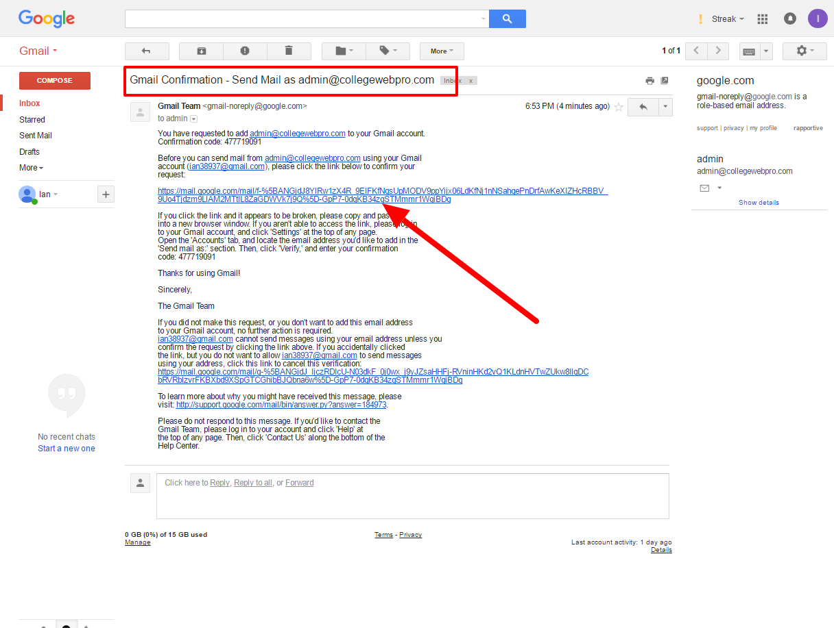 gmail confirmation to send mail as