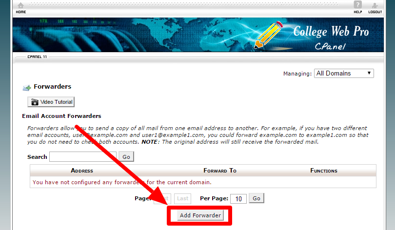 click on add forwarder